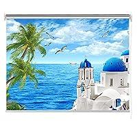 ローラーブラインド クラシックプライバシールームローラーブラインドを暗くする、海辺の風景の写真光フィルターローラーシェード、幅60/80/90/100/120/140 Cm (Size : 60×160cm)