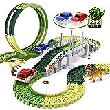 INKPOT Dinosaur Toys 222PCS Car Race Track Playset, Flexible Interchangeable Tracks with Bridge