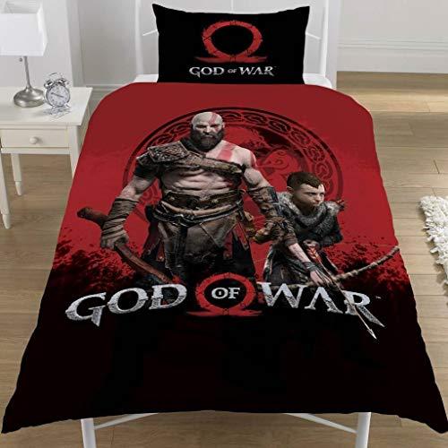 God Of War - Juego de Cama diseño Warriors del Videojuego (Individual) (Negro/Rojo)