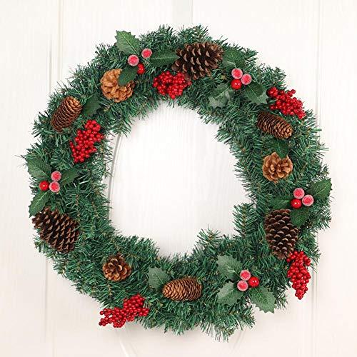 knowledgi - Guirnalda navideña de Anillo Redondo con árbol de Navidad - Porta Colgar con Guirnalda de trébol de Gelo, piñas Naturales, Bayas, Guirnalda de Navidad Decorativa, 60 cm