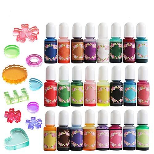 Flüssigfarbe, 24 Farben, Epoxidharz, Farbstoff, Epoxidharz, Konzentrat, Farbstoff, Harz, Epoxidharz, flüssig, für Färbung, Kunstharz, Schmuckherstellung, Farbe, Handwerk, 10 ml pro Flasche