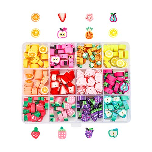 NBEADS 180 Pcs Polymer Clay Beads, Mixed Fruit Beads Soft Pot Beads Crafts Accessories for Jewelry Making