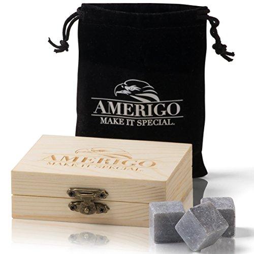 Amerigo Premium Whisky Stones Set di Regalo Annacquare Il Tuo Whisky? Mai più! Set di 9 Whisky Pietre. Confezionate in Un Esclusivo Set in Legno - Whisky Rocks Gift Set - Whiskey Stones