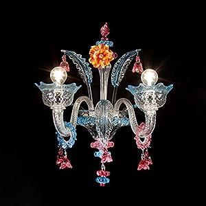 Aplique murano vidale - 2 luces - Cristales decorados acuamar y rubí