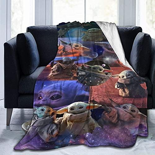 Manda-lorian Baby Yodas - Coperta per bambini, ultra morbida, decorazione per la casa, divano letto, 127 cm x 110 cm