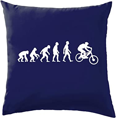 "Dressdown Evolution of Man Mountain Bike - Cushion/Pillow (with Insert) - 41 x 41cm (16)"" - Navy - One Size"