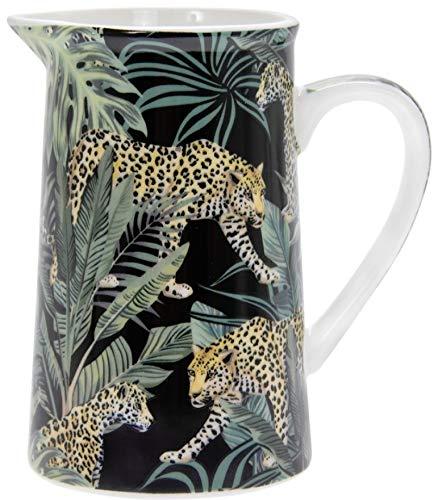The Leonardo Collection LP94013 Milchkännchen, Leoparden- und tropische Pflanzen, feines Porzellan
