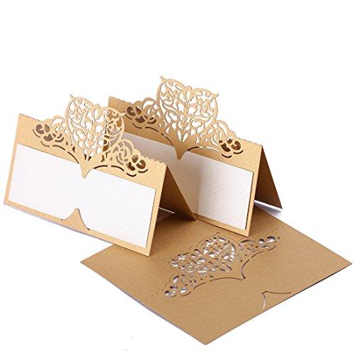 H & D 60 stuks bruiloftsnaamkaarten-tabelkaarten-kaartjes, goudpunt-patroon, cardstok voor bruiloftsaangelegenheden, feesten