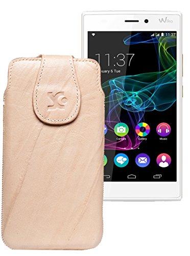 Original Suncase Tasche für / BlackBerry Leap / Leder Etui Handytasche Ledertasche Schutzhülle Hülle Hülle / in wash-beige