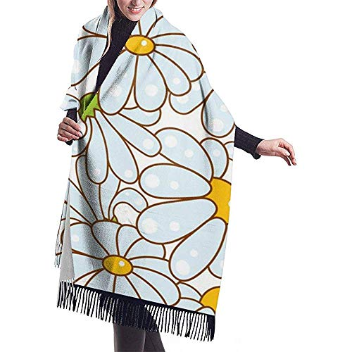 Cathycathy Grote sjaal Kamille lichtblauw patroon sjaal wikkelen winter warme sjaal gordijn