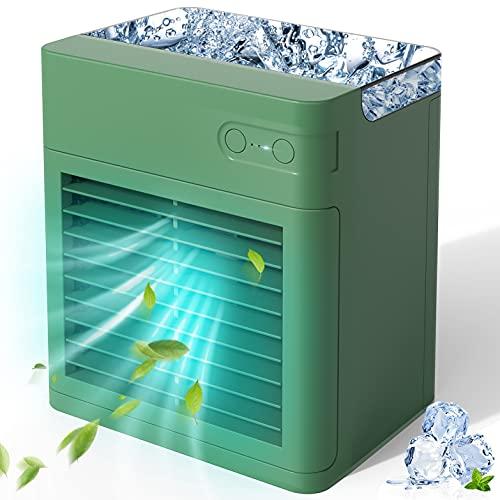 Mini Enfriador de Aire, Enfriador de Aire portátil con humidificador, Carga USB, 3 velocidades ajustables & 7 colores luces LED,Para el hogar, dormitorio, oficina, al aire libre