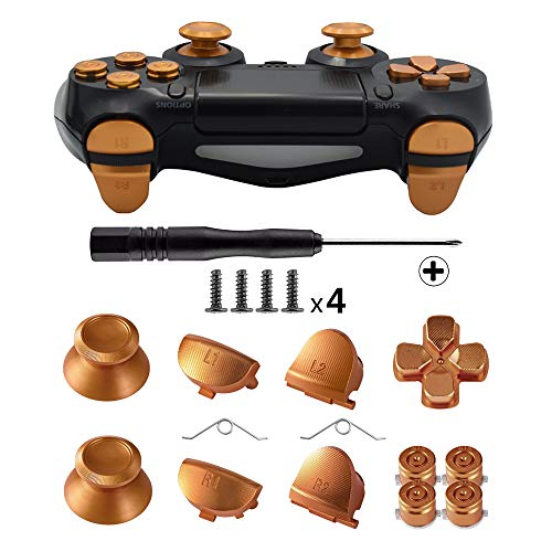 TOMSIN Metal Buttons for DualShock 4, Aluminum Metal Thumbsticks Analog Grip & Bullet Buttons & D-pad & L1 R1 L2 R2 Trigger for PS4 Controller Gen 1 (Gold)