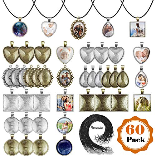 Pendant Trays with Glass Cabochons for Jewelry Making, Anezus 90pcs Pendants Trays Set Including 30pcs Bezel Pendant Trays Blanks, 30pcs Glass Cabochons and 30pcs Necklaces Cords for Necklace Making
