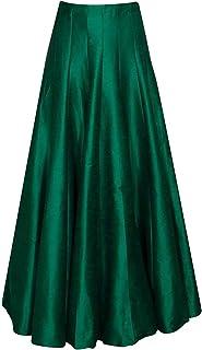 JANAK Women's Long Indo Western Traditional Silk Skirt