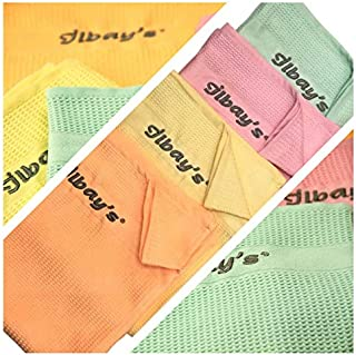 Ilbays Lot de 4 chiffons de nettoyage - Jaune, orange, vert, rose.