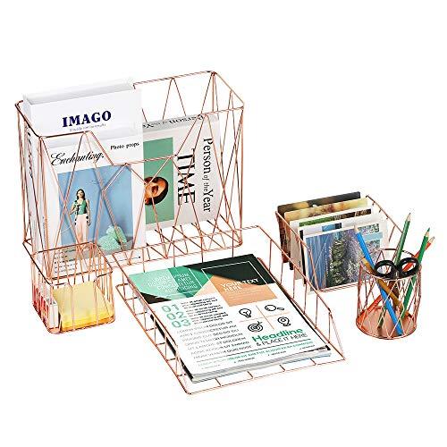 Nandae Schreibtisch-Organizer-Set,Rosegold 5-en-1 Deko Gitterdesign Schreibtischzubehör-Organizer Aktenhalter, Stifthalter, Briefsortierer und Schreibtischablage