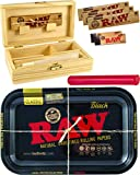 yaoviz® Set RAW Black Rolling Tray Small Metall - Holzbox Medium Holz 155 x 85 x 48mm + 3X 32er RAW...