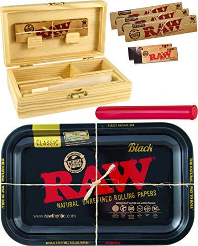 yaoviz® Set RAW Black Rolling Tray Small Metall - Holzbox Medium Holz 155 x 85 x 48mm + 3X 32er RAW KS Slim Papers + 2X 50er RAW Filtertips + Buddies Tube Transporthülle 120mm bunt