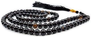 REBUY Natural Black AGATE Sulemani Aqeeq Islamic Prayer Rosary Beads Tasbih Tasbeeh 99 With Wooden Gift Box