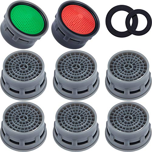 40 Pieces Faucet Aerator Flow Restrictor Insert Faucet Aerators Replacement Parts for Bathroom or Kitchen, Red(2.2 GPM) and Green(1.5 GPM)