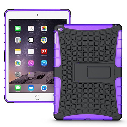 Extremely Cool Dual layer iPad Air 2 Case, Tab Pow [Hybrid Shockproof Case] Rugged Double-Layer Shock-Resistant Drop Proof Built-in stand Defender Case Cover with KickStand [Full Warranty] for Apple iPad Air 2 with Retina Display.(Purple)