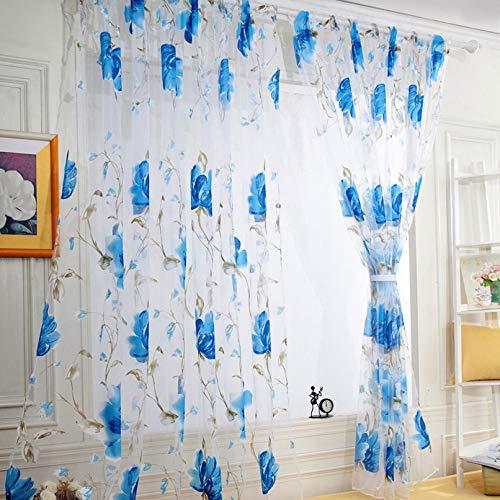 JKKJ 1 Tenda a pannello con stampa a inchiostro trasparente, 250 cm x 100 cm, con stampa floreale, pannello in tulle trasparente per soggiorno e camera da letto, colore: blu