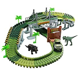Lydaz Race Track Dinosaur World Bridge Create A Road 142 Piece Toy Car & Flexible Track Playset Toy Cars, 2 Dinosaurs 4 Toy Race Car Track Playset: Jurassic dinosaur world with bridge create a road. This track set can be twisted, turned, flexed to form different track shapes. Environmental-friendly material building blocks, no harm to kids boys and girls.