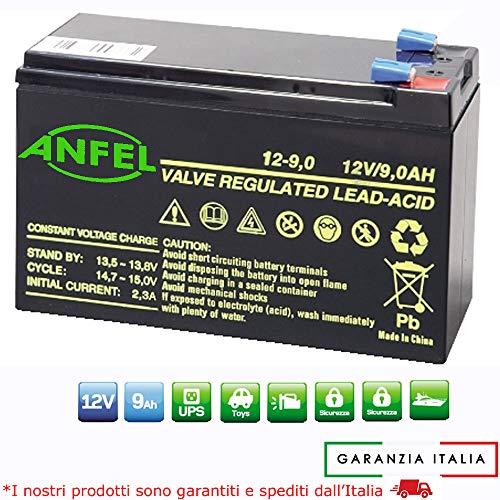 ANFEL Batteria ERMETICA al Piombo 12 V 9 AH Ricaricabile, ups, 150 X 66 X 95