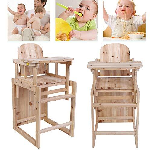 Houten Baby Kinderstoel, 2 in 1 Toddle Dinning Feeding Chair and Table Set Massief Houten Afneembare Kinderstoel Multi-Functie Houten Stoel met Verstelbare Lade voor 4 Jaar Oude Baby, 18.31x15.63x32.68inch