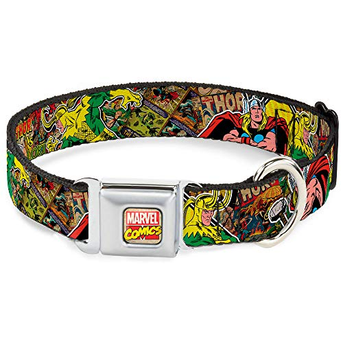 Buckle-Down Seatbelt Buckle Dog Collar - Thor & Loki Poses/Retro Comic Books Stacked - 1' Wide - Fits 11-17' Neck - Medium