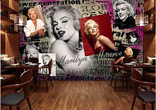 Fototapete Vintage Hollywood Marilyn Monroe Hepburn Vliestapete 3D-Effekt Wandbild Wandkunst | Fototapete Großes Poster | Schlafzimmer Wohnzimmer |-300cmx210cm