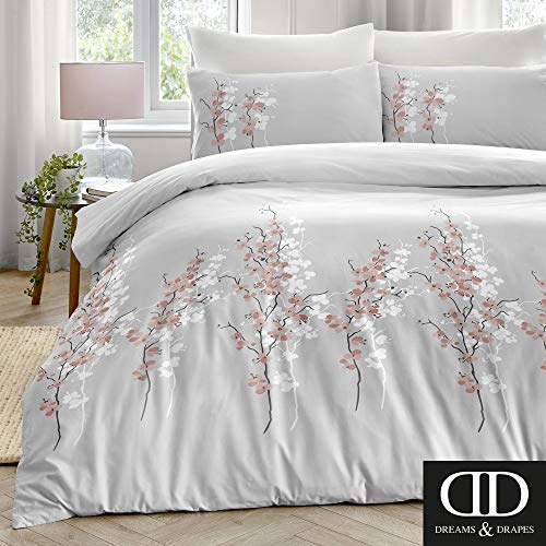 Dreams & Drapes Oriental Easy Care Duvet Cover Set, Pink Flowers on Silver, Double