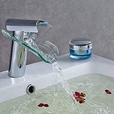 Foto di Auralum® Miscelatore Monocomando per Lavabo Rubinetto Bagno a Cascata Moderno