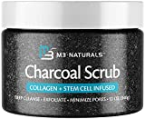 M3 Naturals Activated Charcoal Body Scrub Infused with Collagen and Stem Cell - Exfoliating Facial Polish for Acne, Anti-Cellulite, Dead Skin, Stretch Marks, Fine-Lines, Wrinkles - Cleansing Exfoliator 12 oz