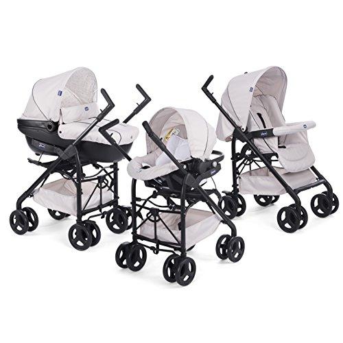 Chicco Trio Sprint Baby 3 in 1 Kombikinderwagen Reisesystem von 0 bis 36 Monaten mit Car Kit, Kinderwagen, Kinderwagenaufsatz und Babyschale, Faltbarer Kinderwagen mit Kompaktem Verschluss