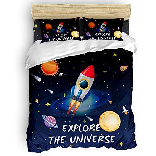 HARXISE Ropa de Cama Lavable Juego de Funda nórdica de 3 Piezas de Dibujos Animados Space Universe Rocket Planet Explore The Universe con Cierre de Cremallera, Funda de edredón y 2 Fundas de Almohada