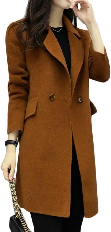 RGCA Women Wool Blend Slim Overcoat Mid Long Pea Double Breasted Trench Coat