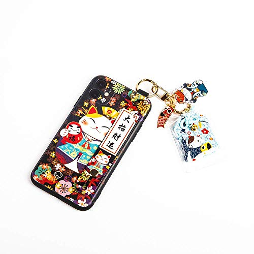 Compatible with iPhone XR Case with Phone Lanyard, 6.1 inch Cute Japanese Lucky Cat Design, Glitter Luxury Soft Silicone 3D Emboss Phone Case iPhone XR with Wrist Strap (iPhone XR, Black)