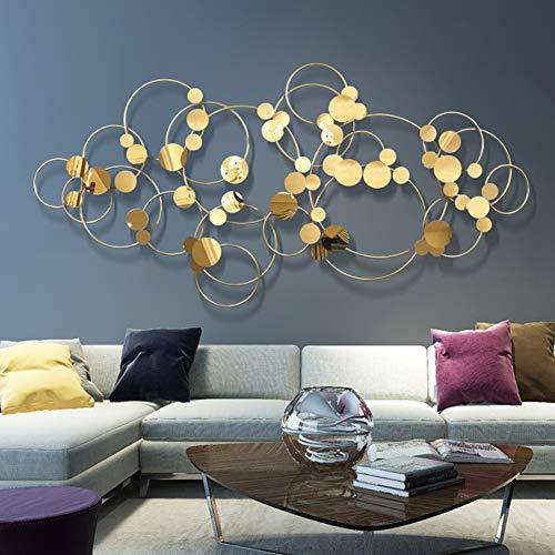 Little stars Metall-Wandbild 3D dreidimensionale Moderne minimalistische Golden Kreise Wanddekoration - Für Arbeitszimmer/Wohnzimmer/Schlafzimmer/Hotel,L