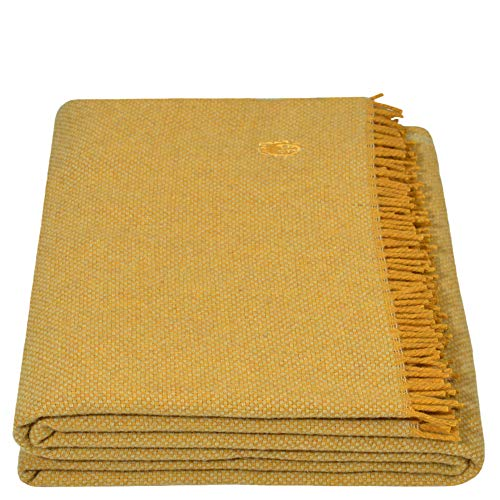 Must Relax-Decke – Wolldecke – hochwertiges Plaid aus reiner Schurwolle mit Fransen – 130x190 cm – 160 curry – von 'zoeppritz since 1828'