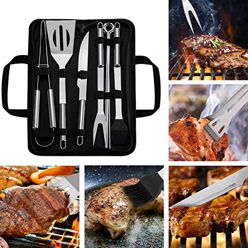 WOTOW Parrilla de herramientas de barbacoa conjunto, 9 piezas de acero inoxidable barbacoa accesorios con…