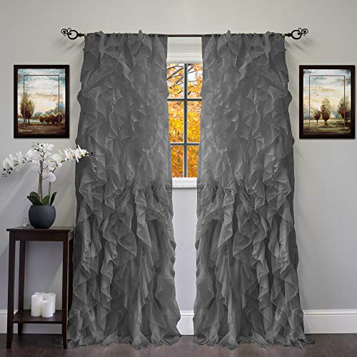 Sweet Home Collection 2 Pack Window Panel Sheer Voile Vertical Ruffled Waterfall Curtains, 96 in x 50 in, Gray