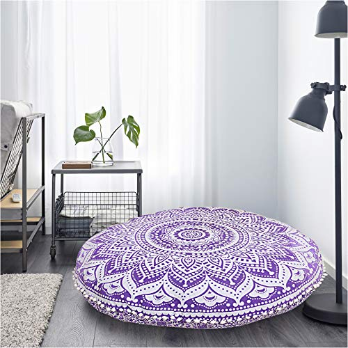 Bohemian Cushion Only Cover Round Ottoman Mandala Floor Pillows Pouf Cover Mandala Floor Pillow Cover