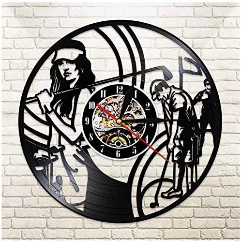 Reloj de Vinilo para Pared Club de Golf Disco de Vinilo Reloj de Pared Regalo Creativo Niños y niñas Adolescentes Amigos Diseño artístico único Reloj de Pared de Vinilo 12 Pulgadas