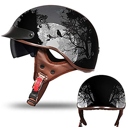 KuaiKeSport Cascos Moto Personalidad Retro, Adulto Casco de Moto Casco de Medio...