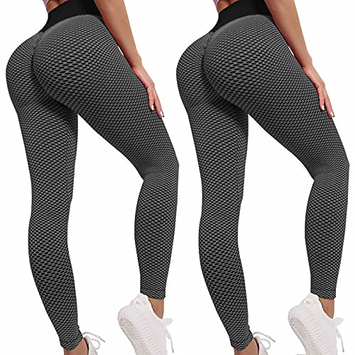 High Waisted Workout Leggings for Women, Butt Scrunch Peach Lift Yoga Pants,Anti Cellulite Tummy Control Tights 2 Pack