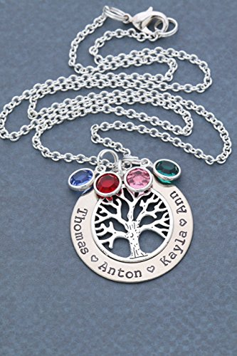 Silver Family Tree Necklace - Personalized Handstamped Childrens Names, Choose Birthstone Crystals, Grandma