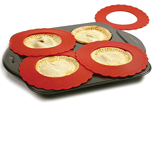 "Set of 4 Mini Silicone Crust Shields - Protect Edge of 5"" & 6"" Pies From Burning, Mini Pie Pan Shields."