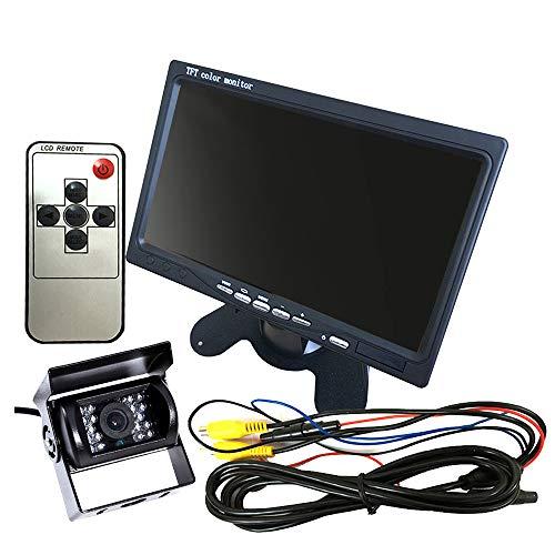 KKmoon Rückfahrkamera Set 7 Zoll TFT LCD Kfz Monitor 170 °Weitwinkel mit Fernbedienung Rückfahrkameras, IP67 wasserdicht für Auto LKW Anhänger Bus