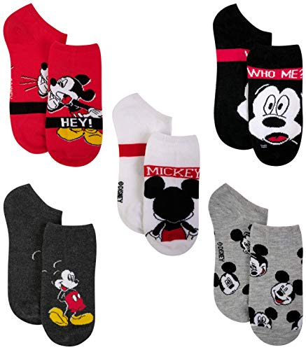 Disney Women's No Show Socks with Assorted Mickey and Friends Design (5 Pack), Red, Sock Size: 9-11, Shoe Size: 4-10